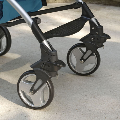 Steer the Liteway Stroller with ease with precision front swivel wheels