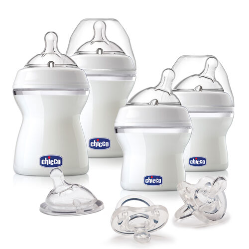 Chicco NaturalFit Baby's First Gift Set includes 2 - 5 oz bottles with newborn flow nipples, 2 - 8 oz bottles with adjustable flow nipples, 1 newborn medium flow nipple, and 2 silicone orthodontic pacifiers