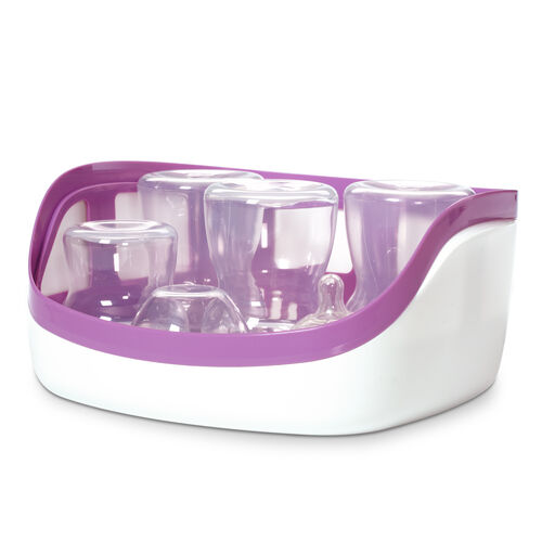 The NaturalFit Microwave Steam Sterilizer holds up to 4 wide mouth baby bottles or 5 regular baby bottles and accessories