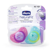 Chicco NaturalFit Flair 12M+ Pacifier - Pink and Aqua (2 pack)