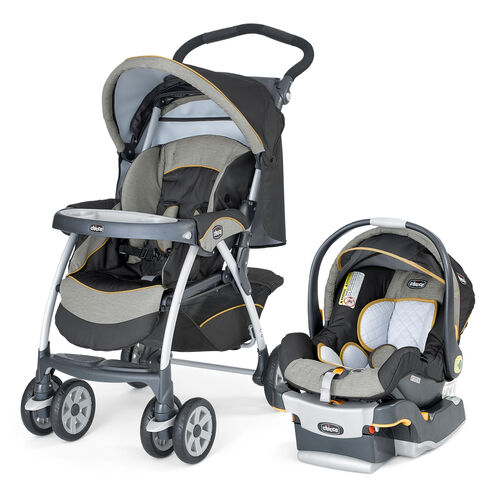 Chicco Cortina Stroller and KeyFit 30 Infant Car Seat Travel System in brown and light green with yellow piping - Sedona