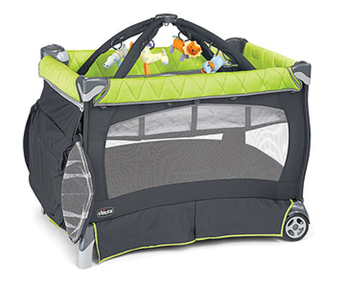 Chicco Lullaby Playard in dark gray and bright lime green - Zest