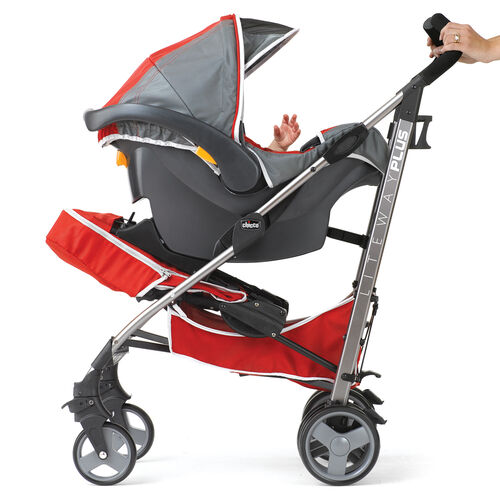 The Liteway Plus Stroller seat back and be folded forward to use as a KeyFit Infant Car Seat Carrier