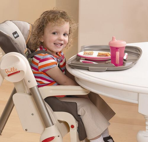 Remove the tray of the Chicco Polly Highchair for older kids who want to sit up close to the table