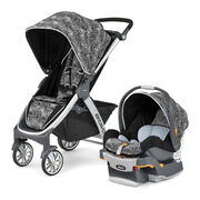 Chicco Bravo Trio Stroller and KeyFit 30 Infant Car Seat in black with black and white jagged stripes - Rainfall