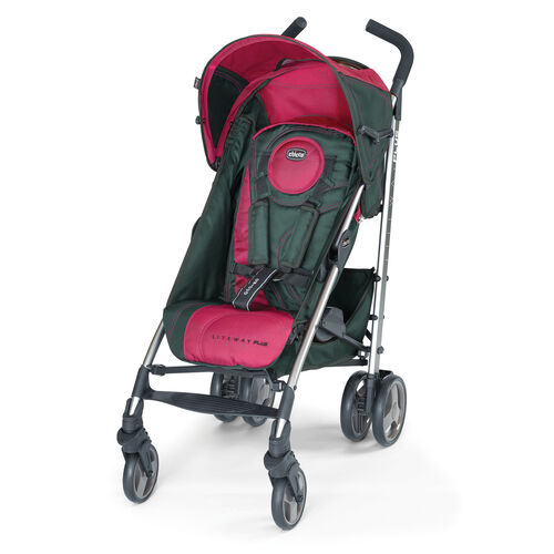 Chicco Liteway Plus Lightweight Stroller in dark gray with deep pink accents - Aster style