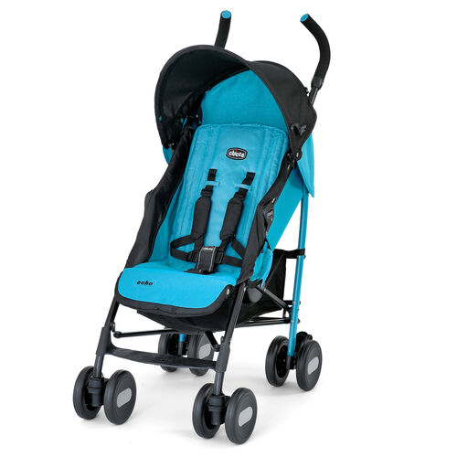 Chicco Echo Stroller in bright turquoise blue with contrasting black accents