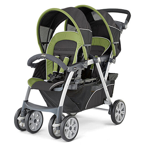 Chicco Cortina Together Double Stroller in black and natural green - Elm