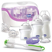 Chicco NaturalFit All You Need Starter Set includes 4 baby bottles of varying sizes and nipples for different flow rates as your child grows, 2 pacifiers, a bottle brush, microwave sterilizer, and teether