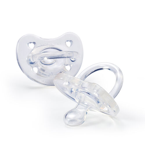 Two clear Chicco NaturalFit Soft Silicone Orthodontic Pacifiers for newborns