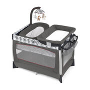 Chicco Lullaby Baby Playard in gray with black and white crosshatch pattern and red piping - Vivid