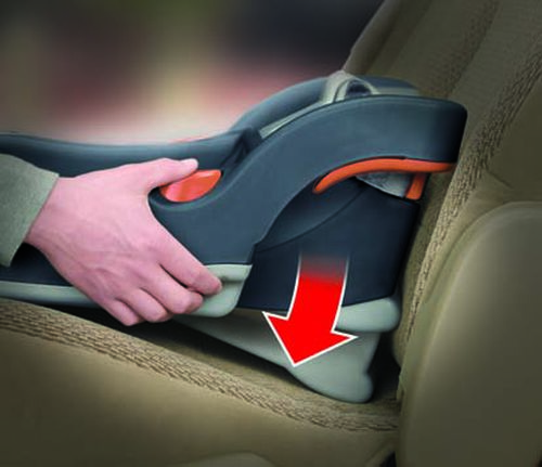 achieve the proper angle of recline on the KeyFit 30 infant car seat base using the spring-loaded base leveling foot
