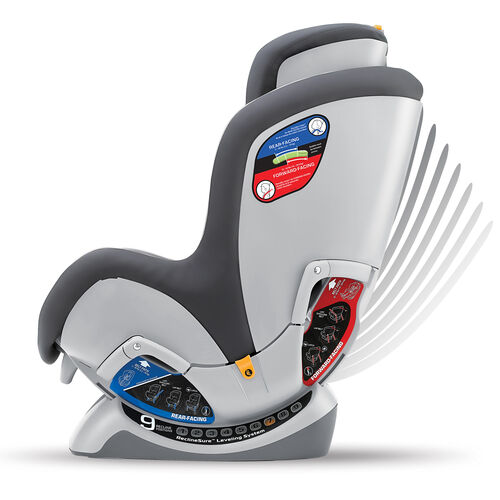 Achieve the correct angle for your child with the NextFit Convertible Car Seat's 9-position leveling system