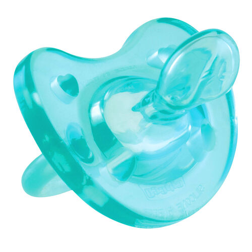 The angled nipple on the NaturalFit 12M+ Soft Silicone Orthodontic Pacifier has tiny ridges and grooves that promote natural tongue movement and oral development for baby