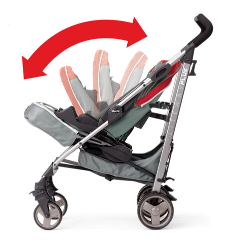 Fully-adjustable seat back on the Chicco Liteway Plus Lightweight Stroller