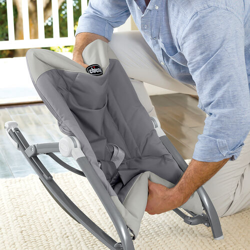 Easily fold and store the pocket relax rocker by chicco featuring a push button fold release and quick-fold design