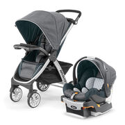 The Bravo Travel System includes the KeyFit infant car seat, car seat base, & Bravo Stroller