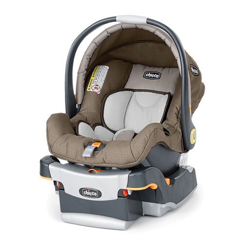 Chicco KeyFit Infant Car Seat and Base in tan beige with a subtle gold chevron pattern