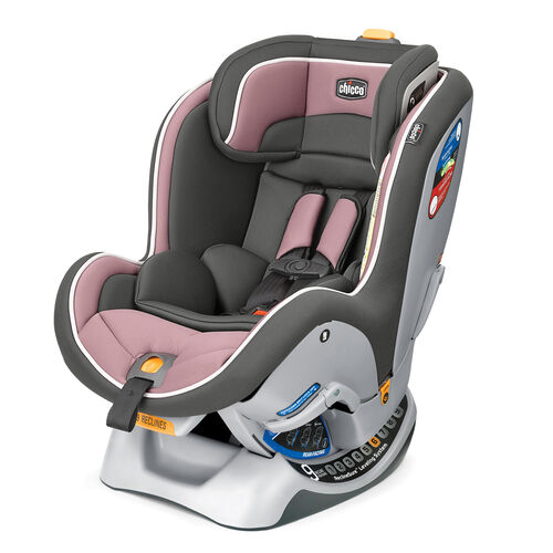 Chicco NextFit Convertible Car Seat in soft gray and dusty Rose style