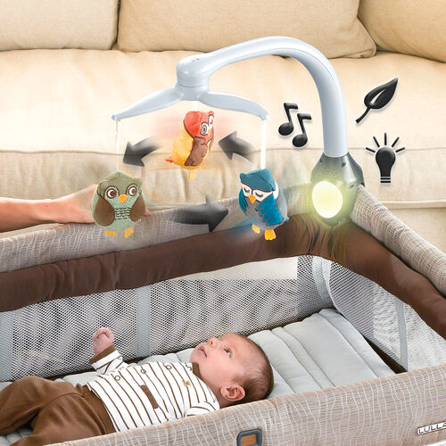 The Lullaby Magic Playard comes with a mobile, music, nature sounds, and nightlight