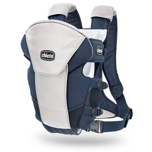 The UltraSoft Infant Carrier in Equinox features a silver gray with contrasting navy blue accents