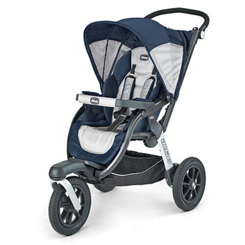 Chicco Activ3 Jogging Stroller in navy blue and silver light gray colors - Equinox Style