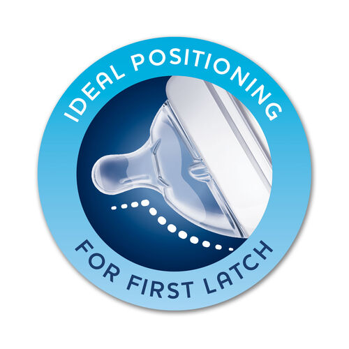 The NaturalFit angled nipple promotes ideal positioning for a first latch and every latch