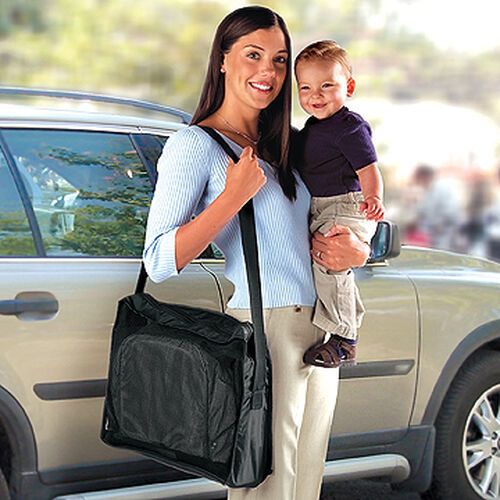 The Chicco Hook-On Travel Seat comes with a convenient carry bag for taking it with you when you travel