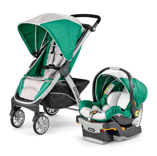 Chicco Bravo Trio Stroller and KeyFit 30 Infant Car Seat - light gray and green turquoise - Empire
