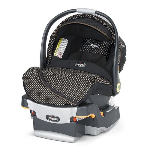 Chicco KeyFit 30 Infant Car Seat and Base in black with silver and brown-tan geometric small circle pattern - Limited Edition Minerale