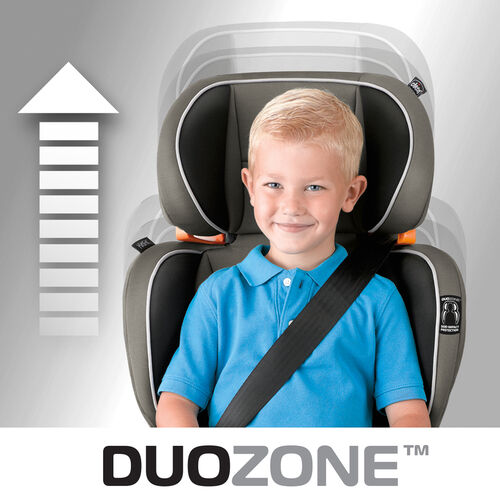 Head and shoulder protection on the KidFit booster car seat backrest can be adjusted to fit your child