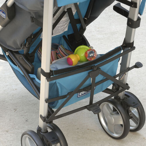 A storage basket underneath the Liteway Plus Stroller can be removed and used as a backpack