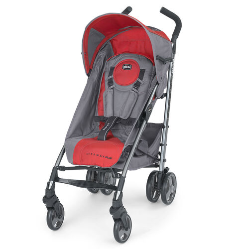Chicco Liteway Plus Sroller gray with bright red accents - Pulse