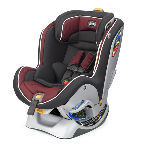 Chicco NextFit Convertible Car Seat in dark grey and deep brick red textured fabric - Studio Style