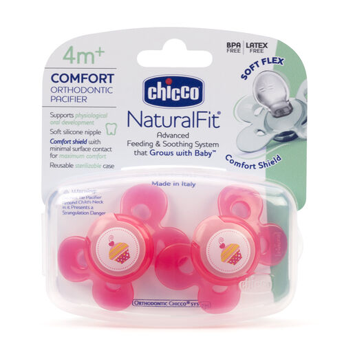 Chicco NaturalFit Comfort 4M+ Pacifier - Pink with Cupcake Design (2 Pack)