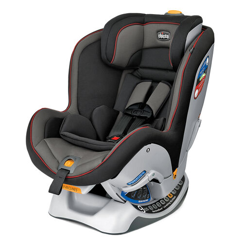 Chicco NextFit Convertible Car Seat in black and gray with red accents - Mystique
