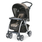Chicco Cortina Magic Stroller in Black with large tan circle pattern - Solare style