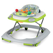 Chicco Little Driver Baby Walker in Silver style with patterned lime green, aqua, and gray fabric seat