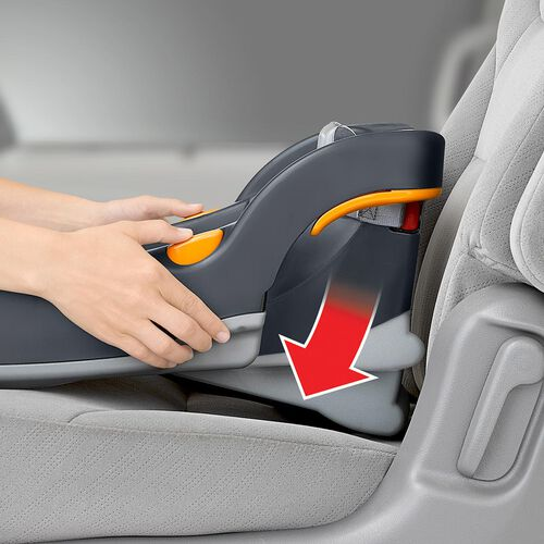 spring-loaded leveling foot on KeyFit 30 car seat base helps to achieve proper angle