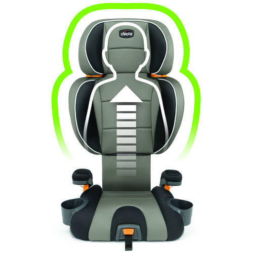 The KidFit Booster Car Seat backrest adjusts to protect your child's head and shoulders as they grow