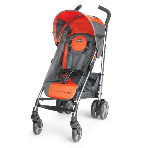 The Chicco Liteway Plus Stroller is available in dark gray with bright hunter orange accents - Radius Style
