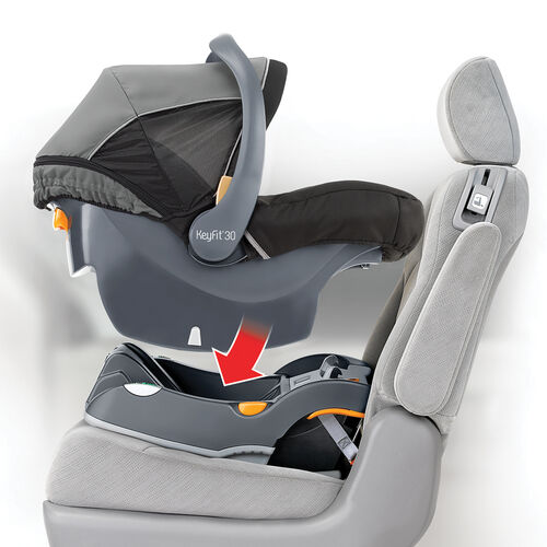 Easily install the Chicco infant car seat with one click into the base.