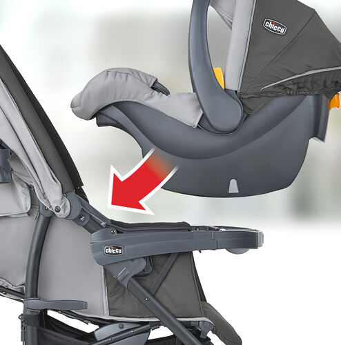 The KeyFit 30 Infant Car Seat clicks into place in the Nuevo Stroller