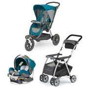 Polaris aqua blue and gray KeyFit 30 Infant Car Seat and Activ3 Jogging Stroller bundle with FREE KeyFit Caddy Stroller