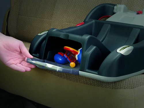 A storage cubby with door is located conveniently on the KeyFit 30 Infant Car Seat Base