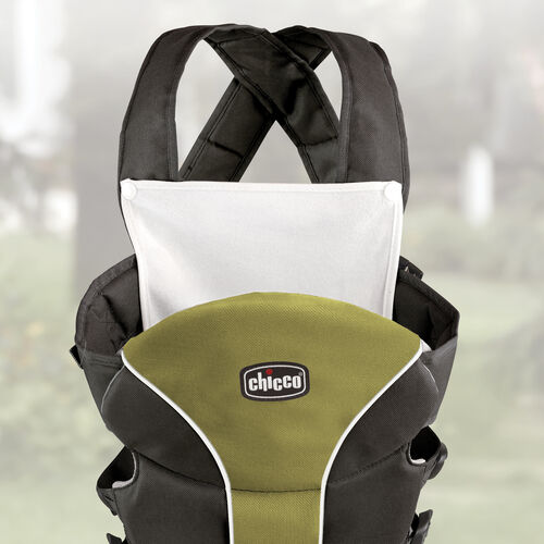 A snap-on bib protects mom or dad's clothes from drool and spit-up when using the Chicco Ultrasoft Carrier Elm