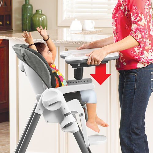 The Chicco Polly Highchair Tray easily snaps onto the highchair's armrests