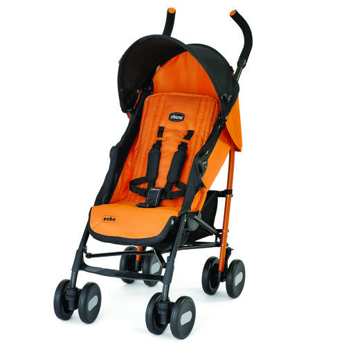Chicco Echo Stroller in bright golden orange with black contrast accents - Amber