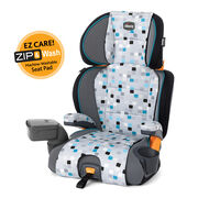 Chicco KidFit Zip 2-in-1 Belt Positioning Booster Car Seat grey with blue geometric square pattern - Blu