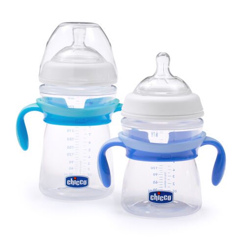 Chicco NaturalFit Bottle handles for babies transitioning from bottle to cup - blue
